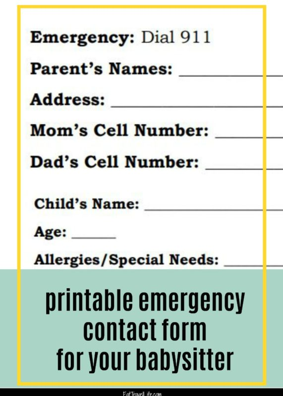 printable emergency contact form for babysitter - Eat Travel Life