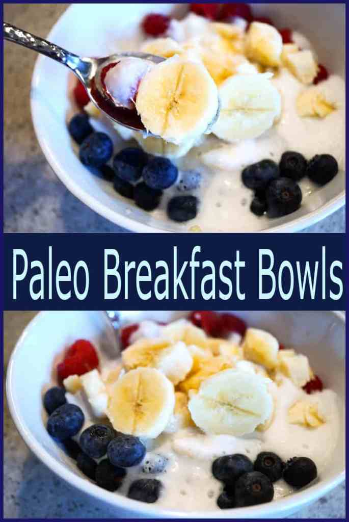 Energizing Paleo Breakfast  Bowls Recipe that takes seconds to prepare and leaves you feeling light and full all morning. Healthy and Delicious.