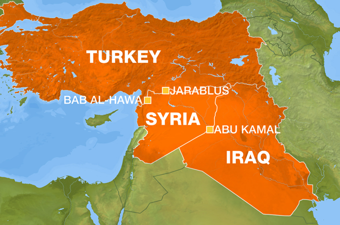 Syria Turkey Hits Islamic State Of Iraq Convoy Near Border EA - Map of syria and turkey