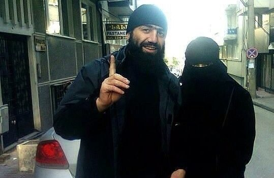 Sayfullah with a woman identified as his Chechen wife.