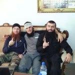 Sayfullakh with Umar Shishani (left) in Umar's villa in Hraytan, Aleppo