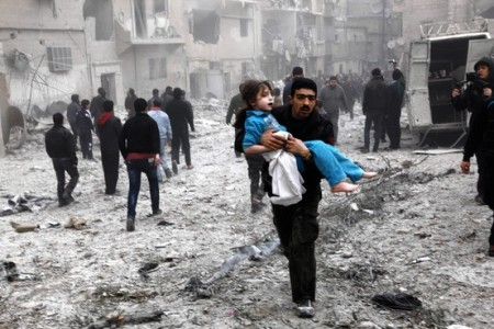 SYRIA MAN CARRYING GIRL