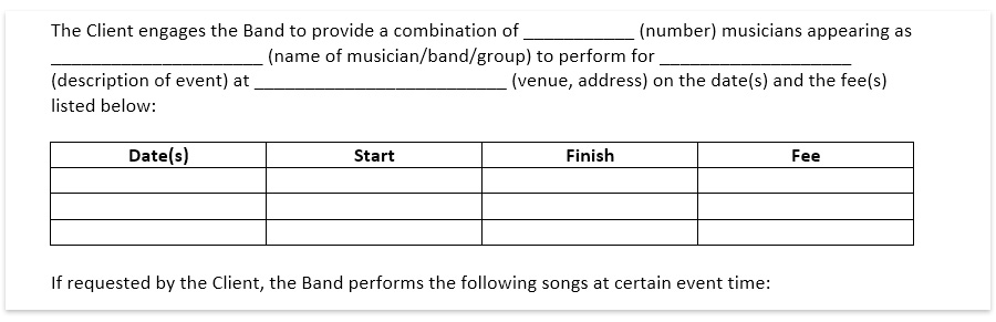 Wedding band contract template, wedding dj contract download free pdf