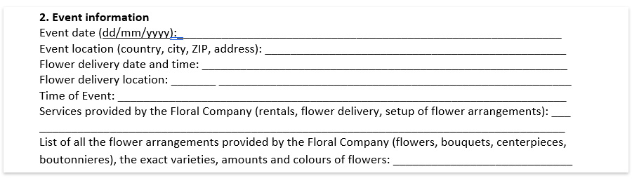 Wedding floral contract template