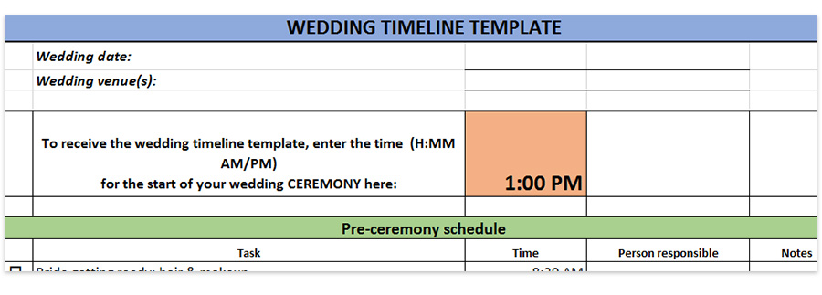 Wedding timeline template, timelines for weddings in pdf, doc