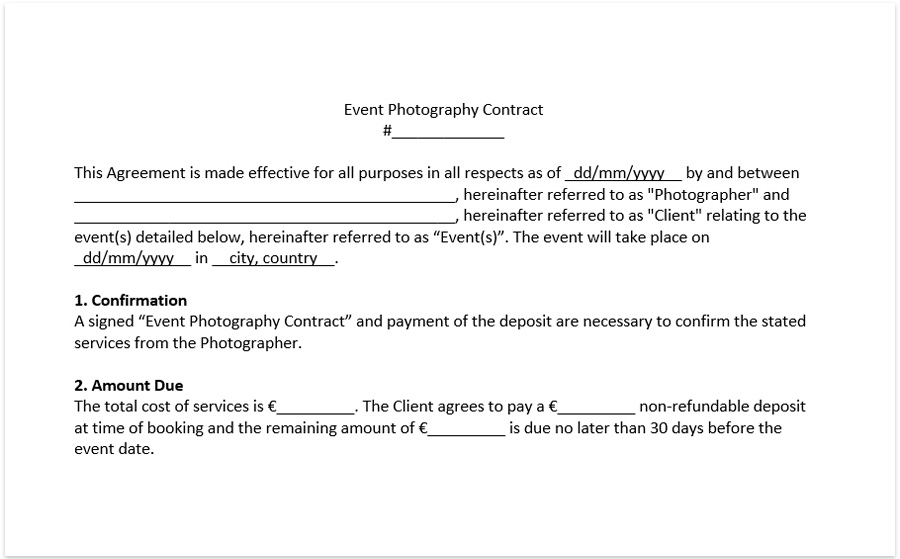 Wedding photography contract template download free pdf and doc