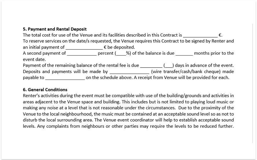 Event Venue Contract Template Download A Free Pdf