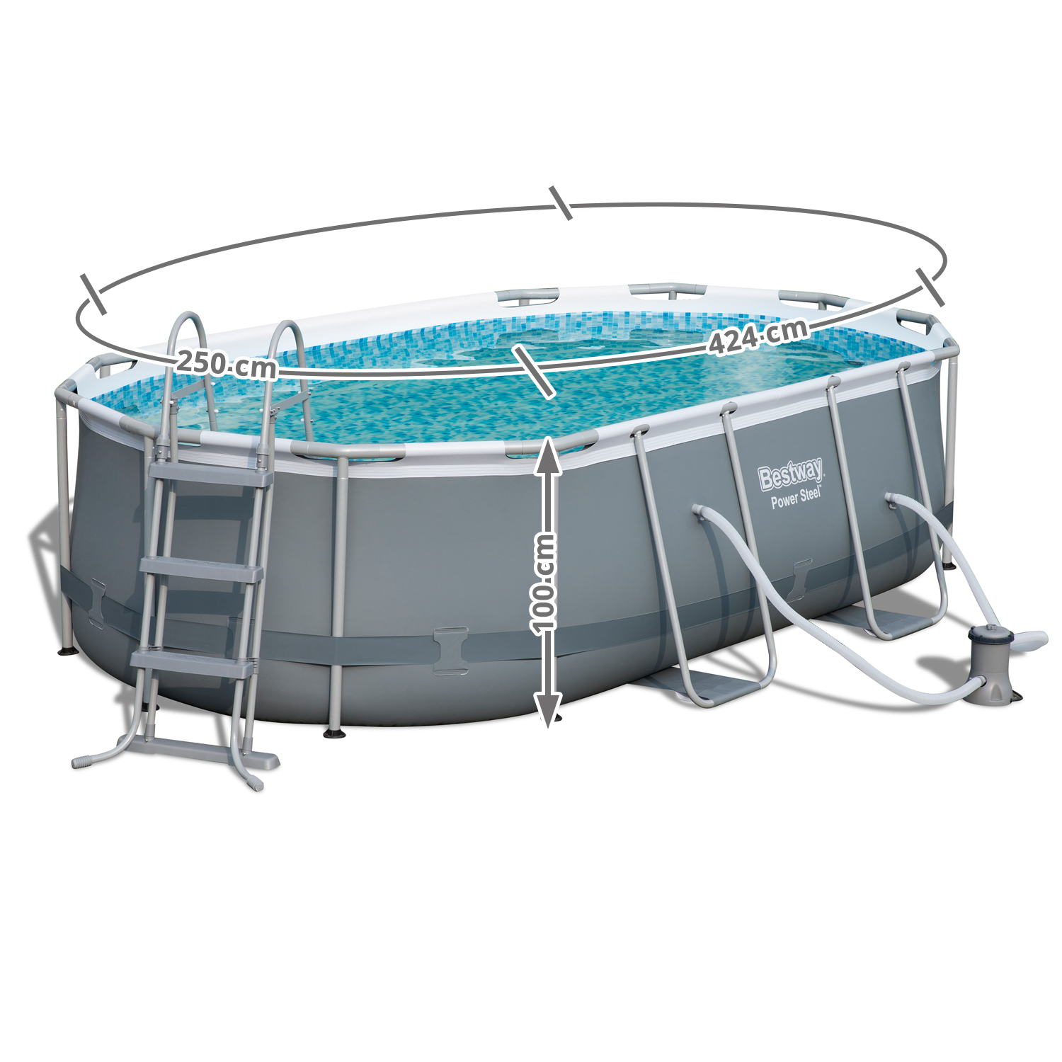 Pool Rund Oder Oval Bestway 56620 Power Steel Oval Pool Set 424x250x100 Cm