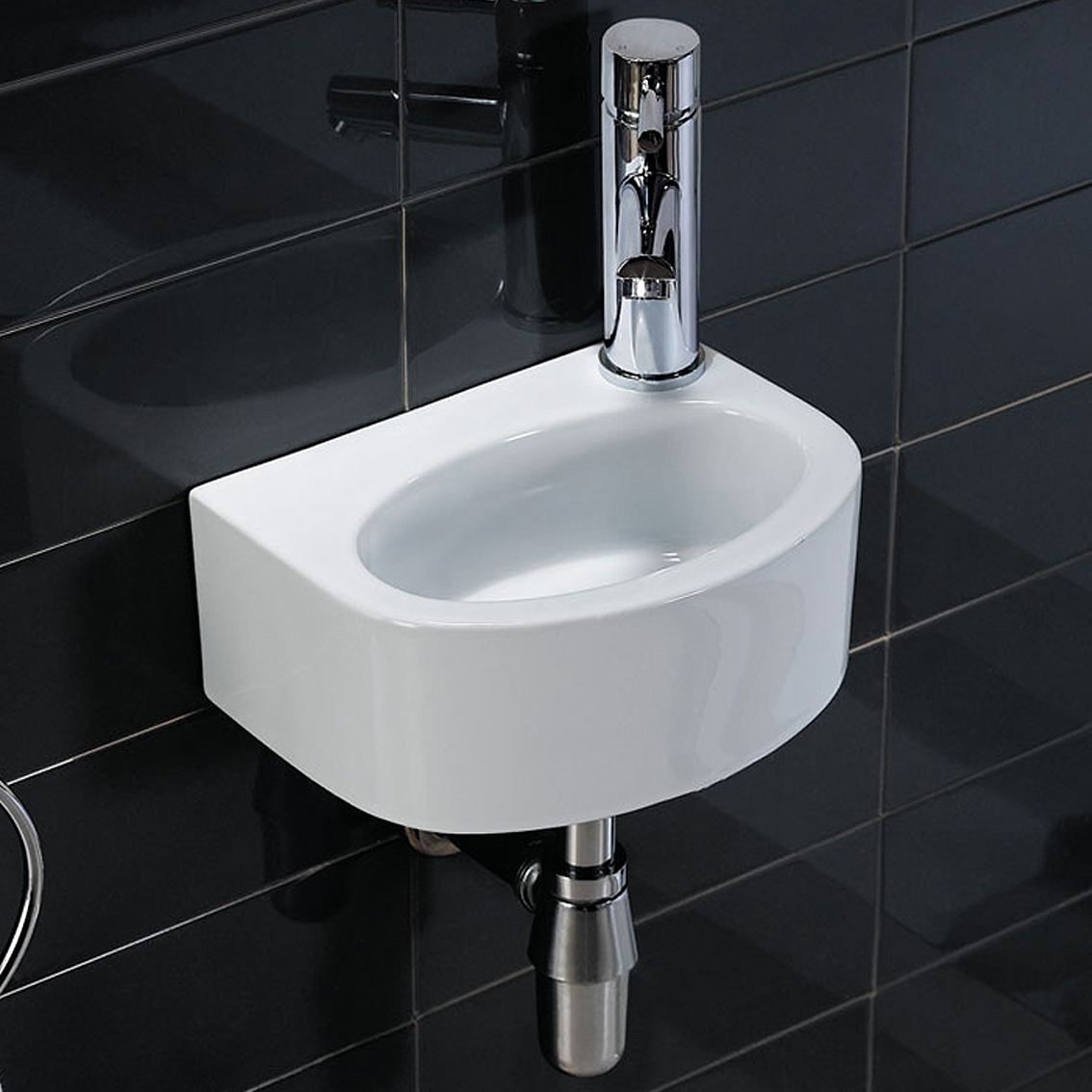 Washbasin Sink White High Gloss Small Cloakroom Wall Mounted Wash Basin
