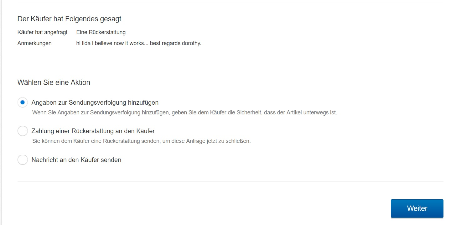 Ebay Sendungsverfolgung Does Anyone Read German Need To Refund The Ebay Canada Community