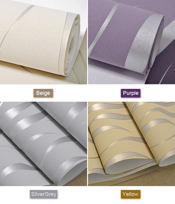 3d Wave Flocking Wallpaper New Bedroom 3d Flocking Waves Non Woven Embossed Textured