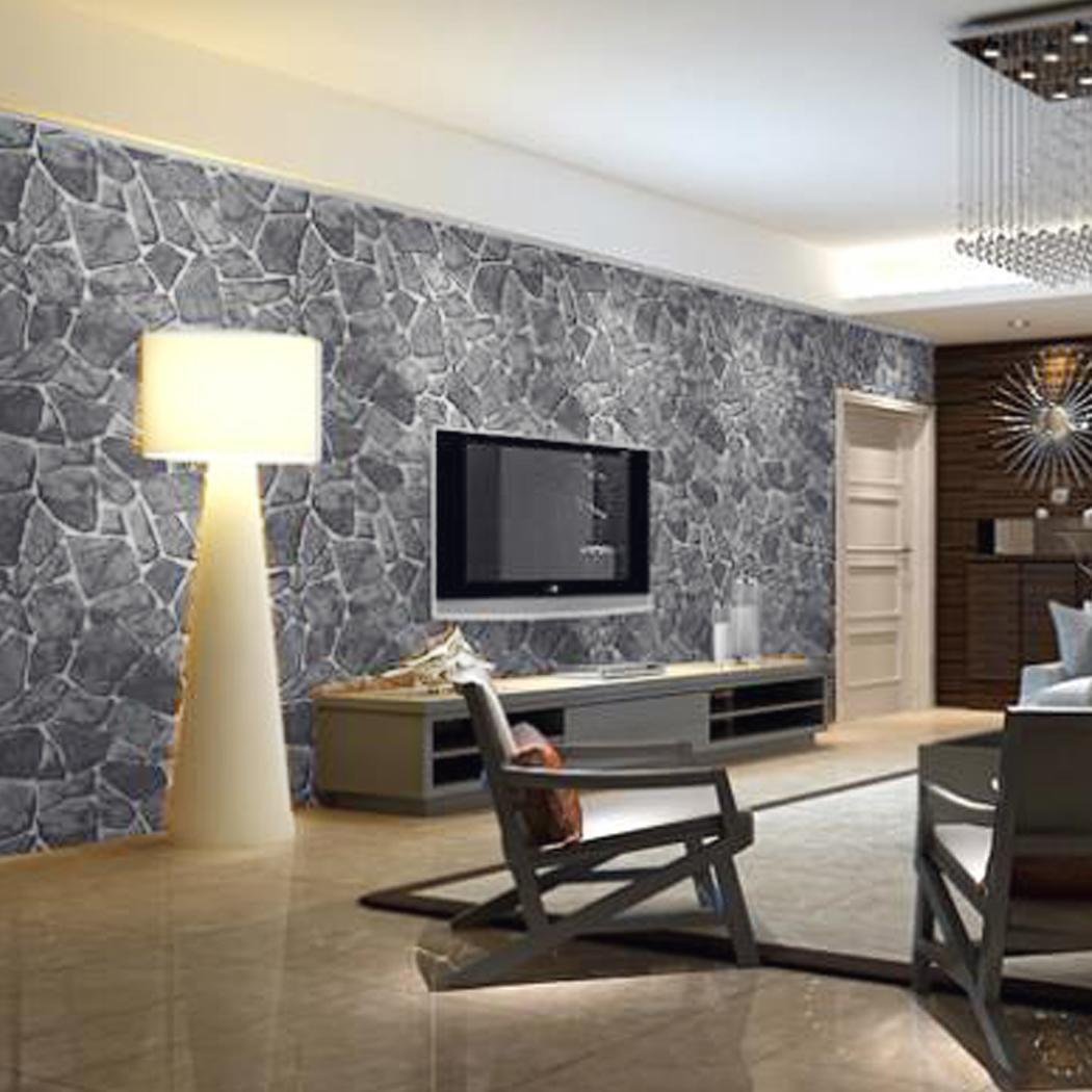 Slate Grey Living Room Wall Stone Rock Slate Effect Background Wall Wallpaper For