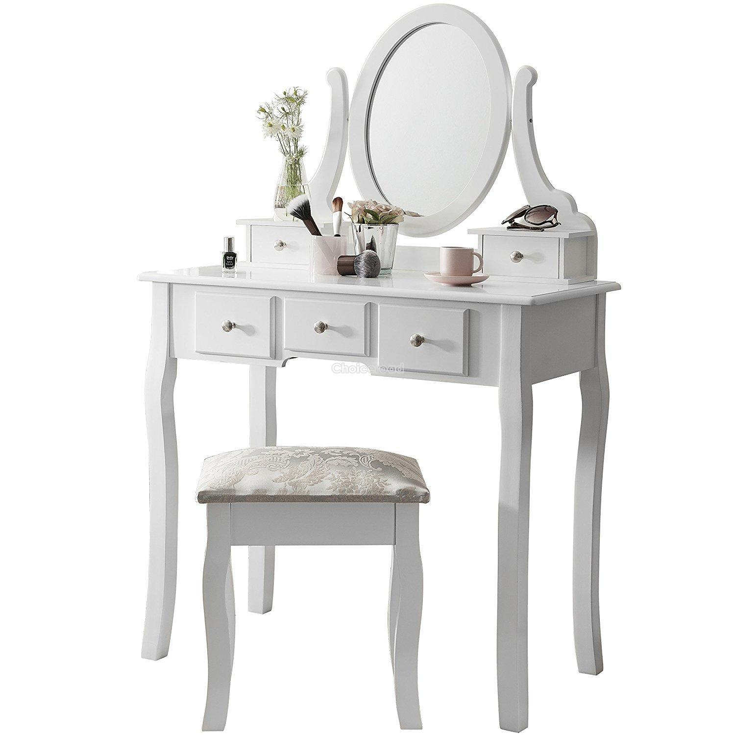Makeup Table Stool White Dressing Table Makeup Desk With Stool Drawers And