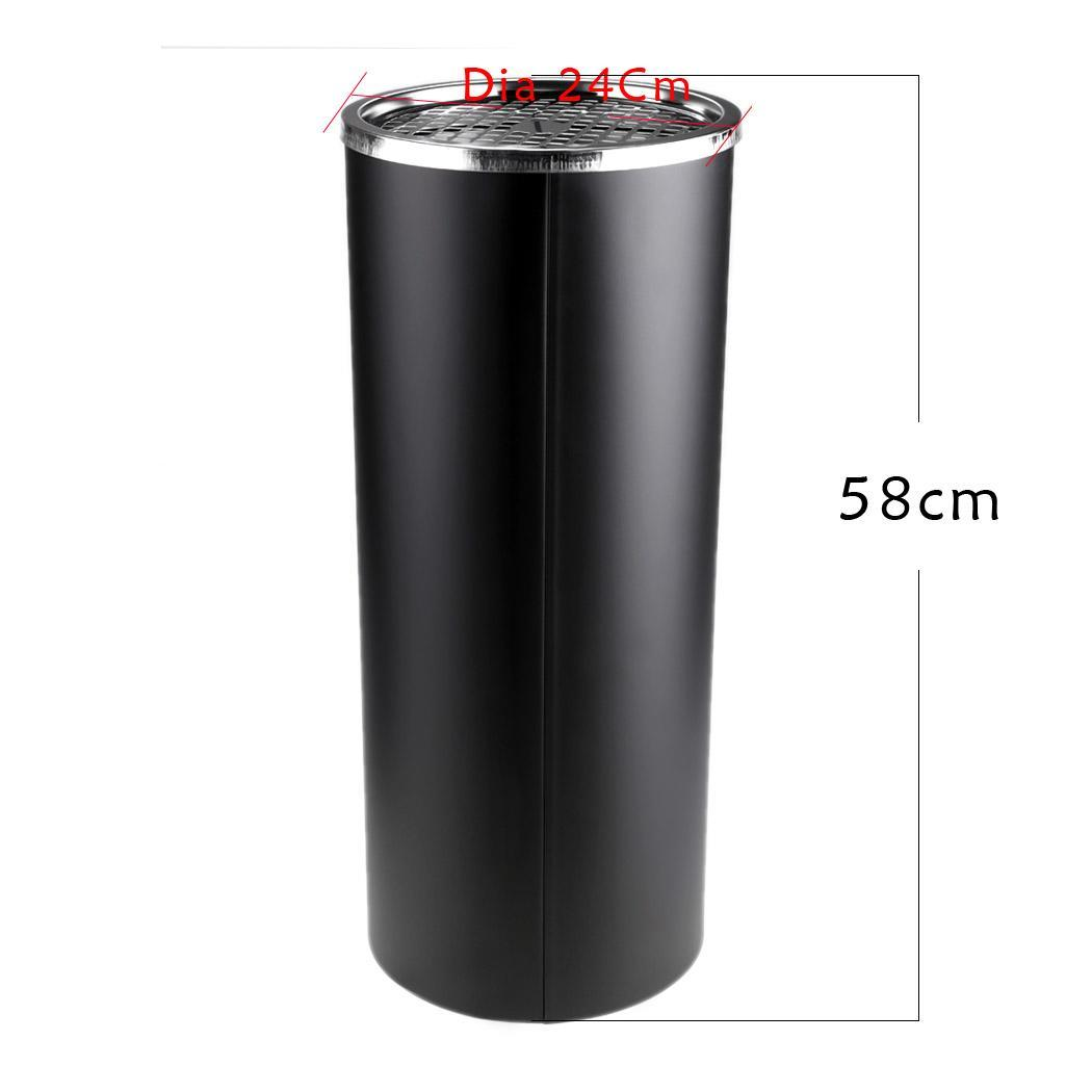Black Metal Trash Can Stainless Steel Round Trash Can Litter Bin With Metal