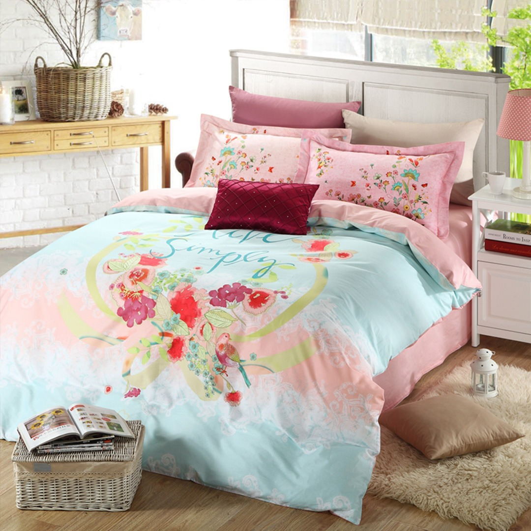 Girls Bedding Discount Floral Girls Bedding Set Two Color Ebeddingsets