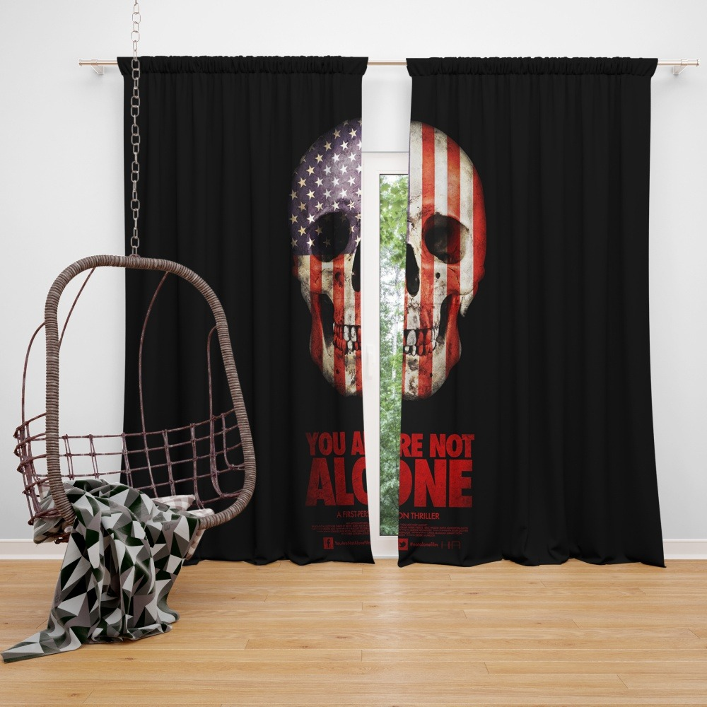 Usa Shower Curtain You Are Not Alone Movie Skull Usa Window Curtain