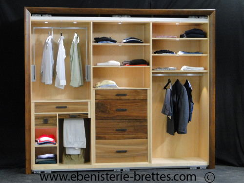 Photo Meuble Tv Dressing-noyer-erable-ebenisterie-brettes