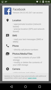 Permissions description