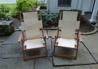 Crate and Barrel Canvas and Wood Folding Beach Chairs : EBTH