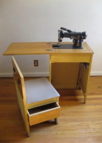 Vintage Sewing Cabinet and Chair with Necchi Sewing ...