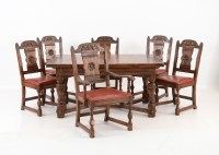 Vintage Tudor Style Oak Dining Table and Six Chairs : EBTH