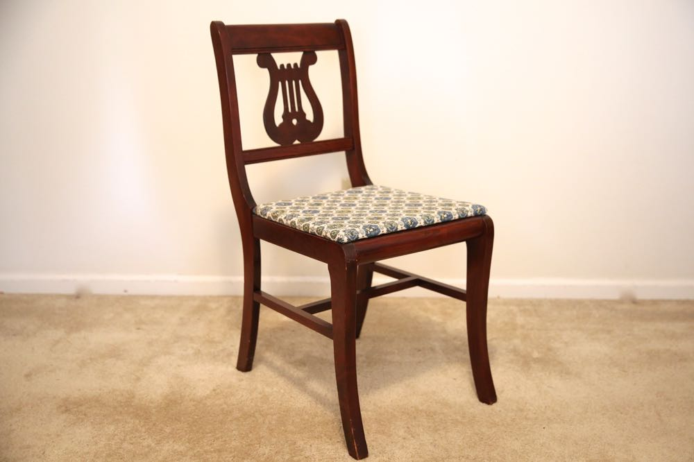 Three Sheraton Style Lyre Back Chairs Ebth