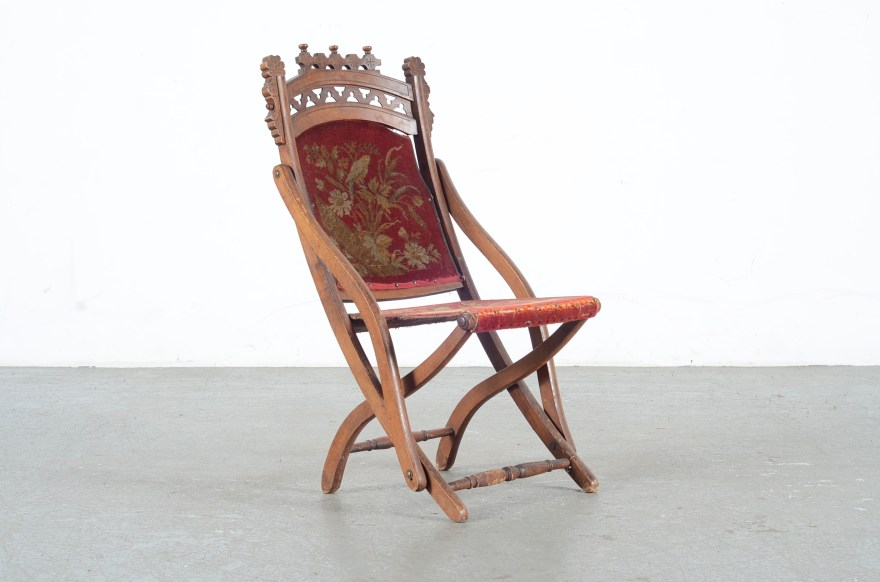 Antique Eastlake Victorian Tapestry Folding Chair Ebth