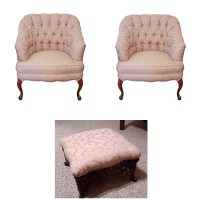 Pair of Upholstered Arm Chairs with Single Ottoman : EBTH