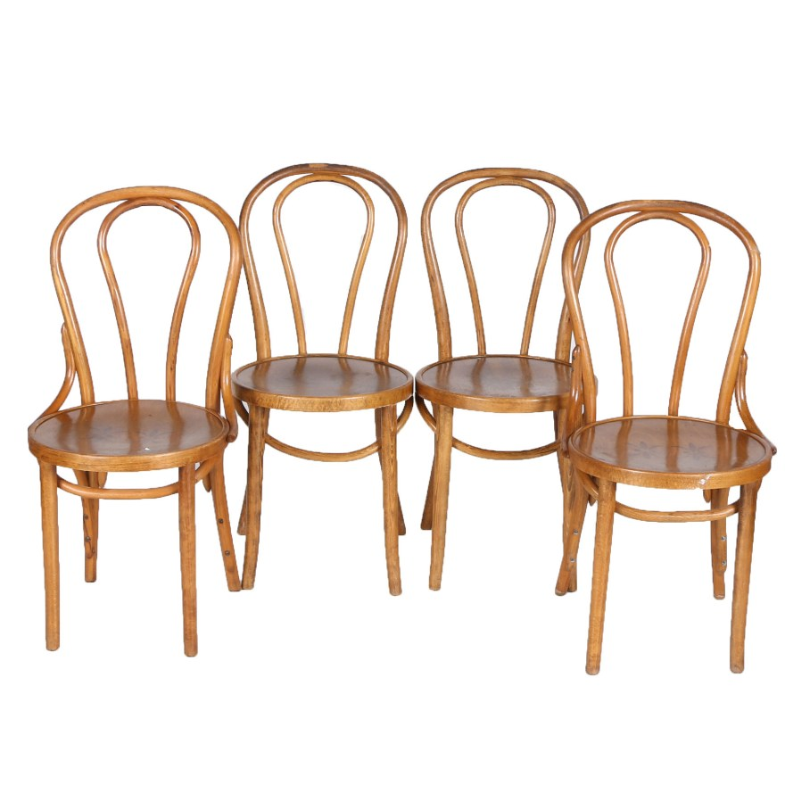 Vintage thonet style cafe chairs with stenciled seats