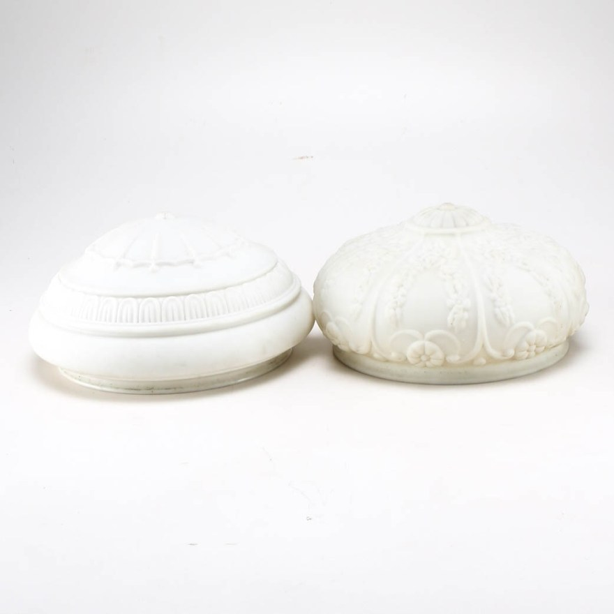 Vintage Milk Glass Ceiling Light Covers : EBTH