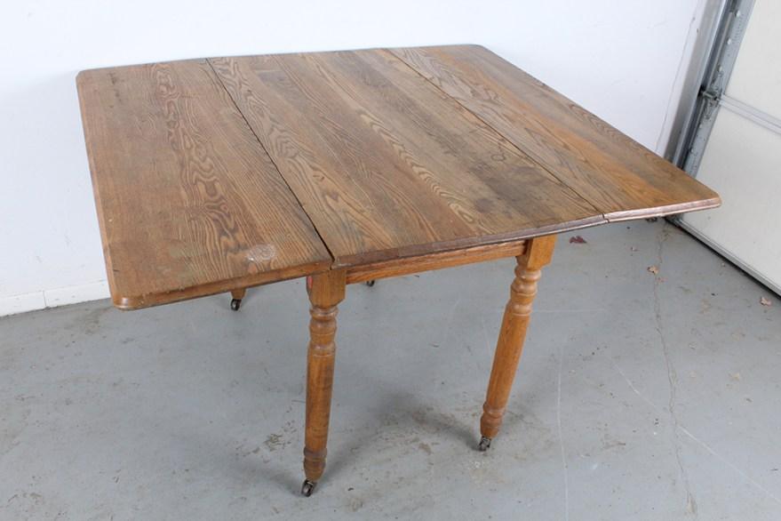 Vintage Oak Drop Leaf Dining Table Ebth