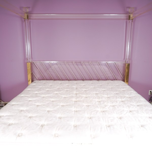 King Size Acrylic Canopy Bed Frame With Gold Tone Accents