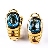 Vintage 18K Yellow Gold, Blue Topaz, and Citrine Clip-On ...