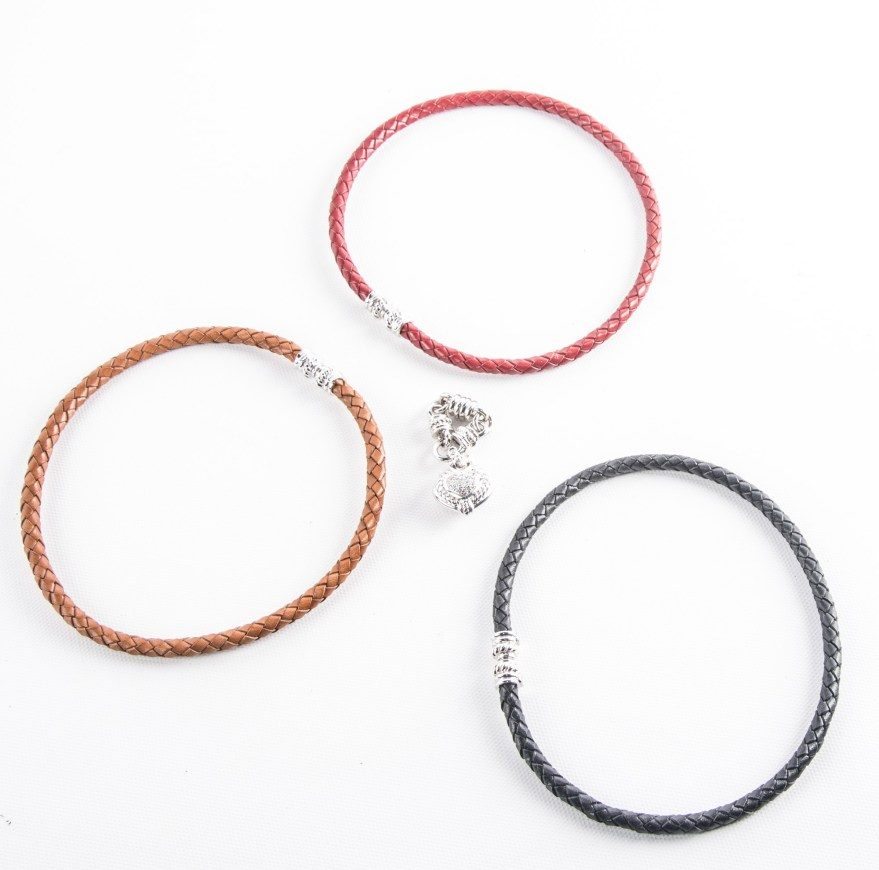 Sterling Silver Woven Leather Necklaces Ebth