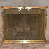 Brass Plated Fireplace Frame with Metal Mesh Drape : EBTH