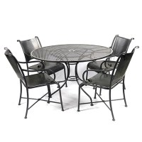 Outdoor Wrought Iron Table and Chair Set : EBTH