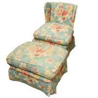 Floral Printed Wing Chair and Ottoman : EBTH