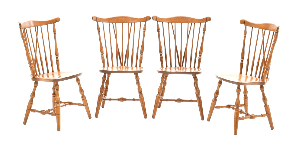 Set Of S Bent Bros Maple Windsor Style Dining Chairs