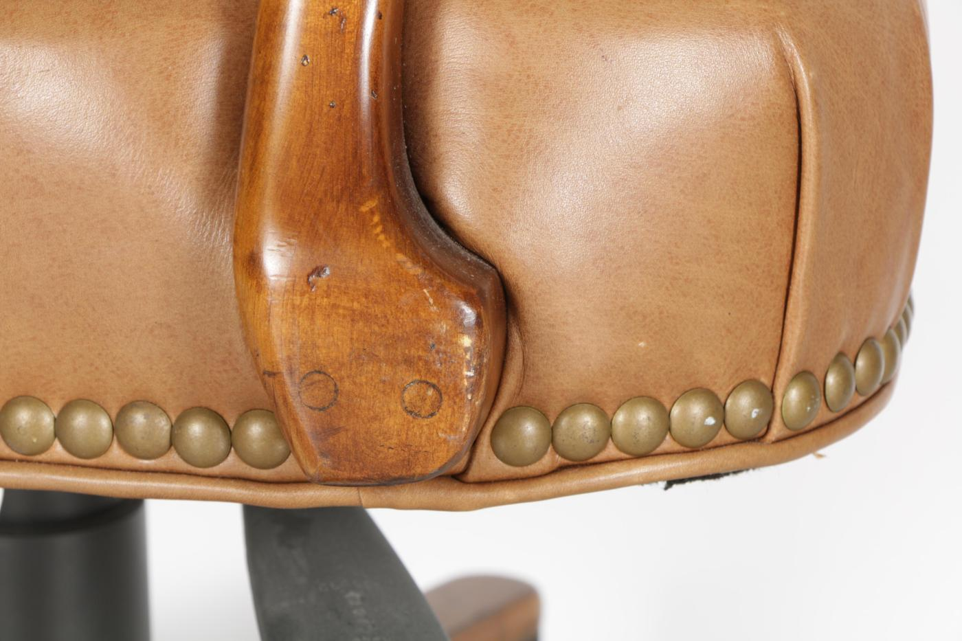 Leather Upholstered Rolling Desk Chair By Century
