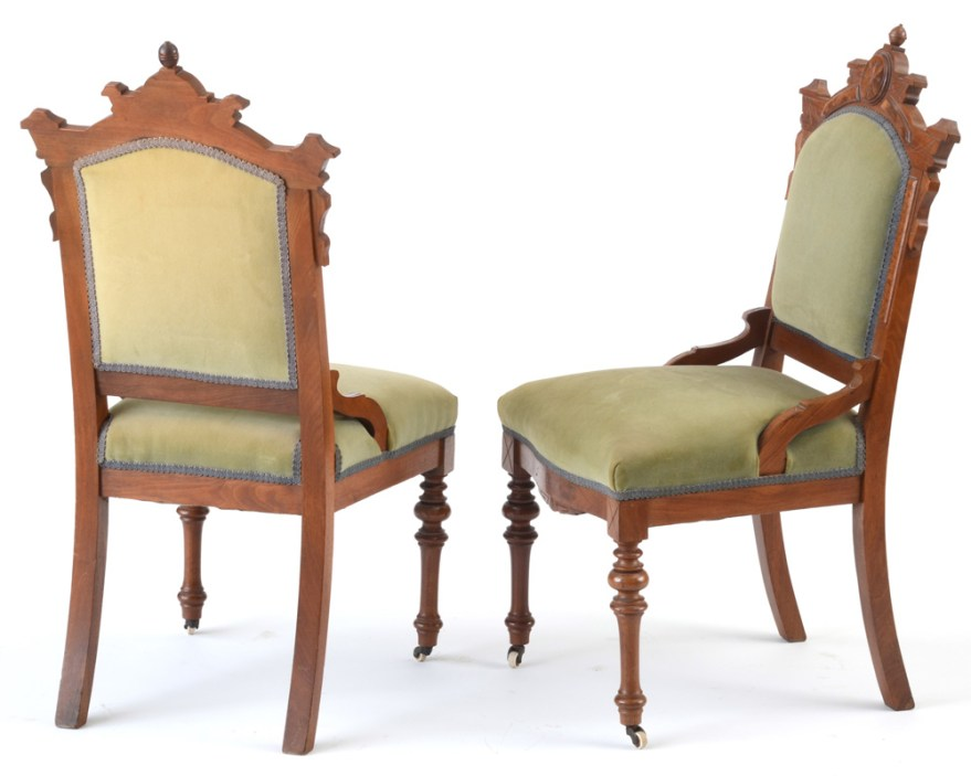 Pair Of Walnut Victorian Side Chairs Ebth