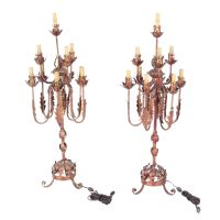 Vintage Italian Tole and Gilt Candelabra Table Lamps : EBTH