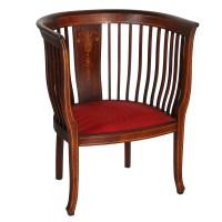 Mahogany Barrel Back Chair With Inlay : EBTH
