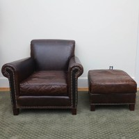 Leather Arm Chair and Ottoman by Restoration Hardware : EBTH