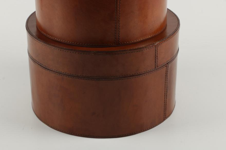 Leather Covered Round Nested Storage Boxes Ebth