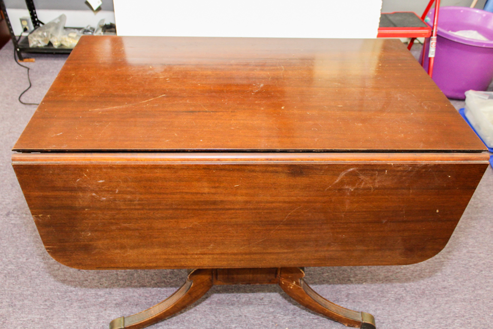 Vintage Mahogany Drop Leaf Extension Table By Extensole Ebth