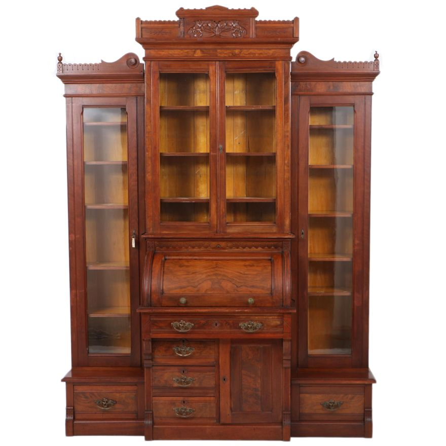 Antique Victorian Eastlake Cylinder Secretary With