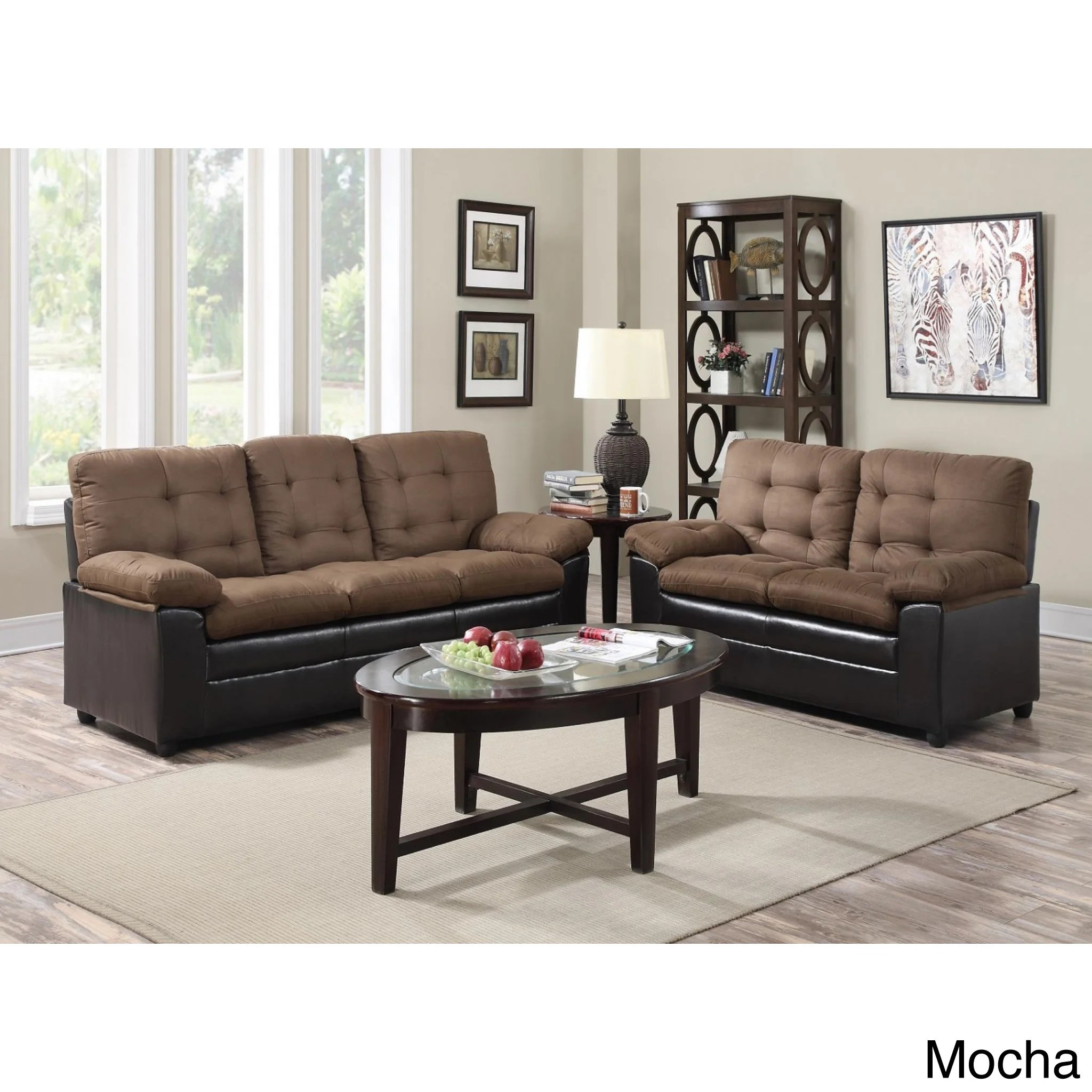 Cheap Furniture Baltimore Two Tone Microfiber Sofa And Loveseat Set Ebay
