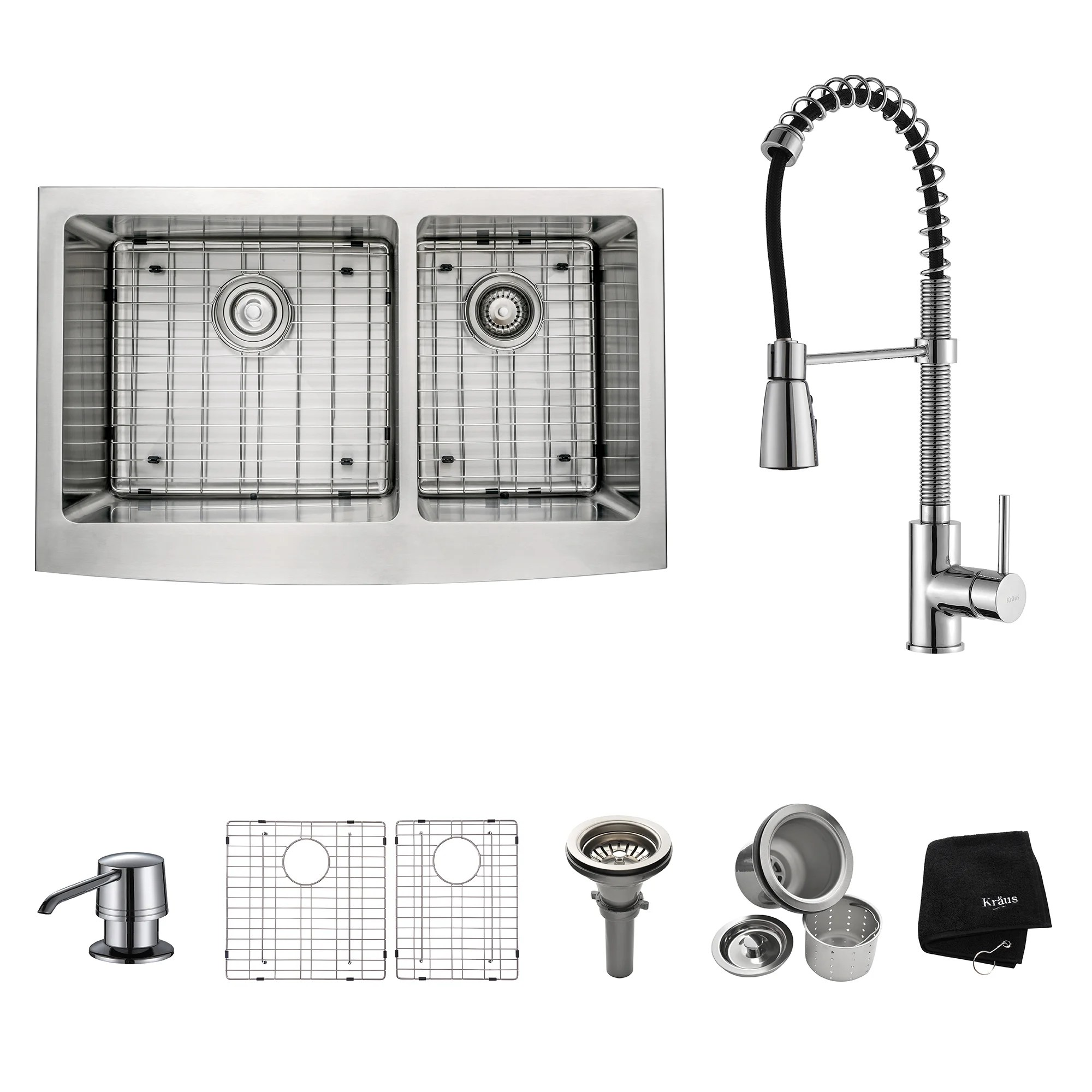 Overstock Farmhouse Sink Kraus Kitchen Combo Set Stainless Steel 33 Inch Farmhouse