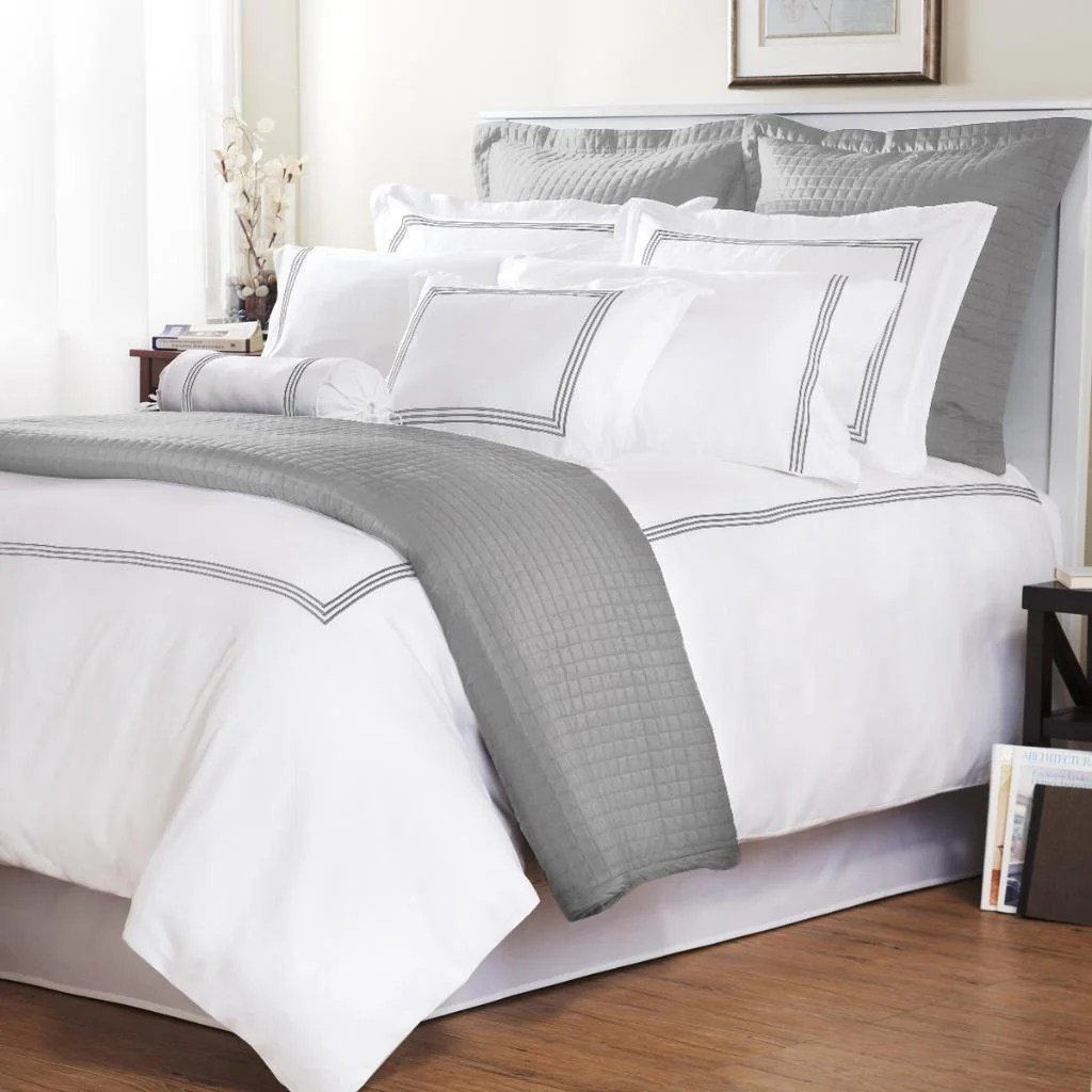 Comforter Cover Full Platinum Stripe Baratto Stitch Full Queen Size 3 Piece