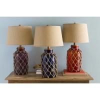 Nautical Glass and Burlap Table Lamp